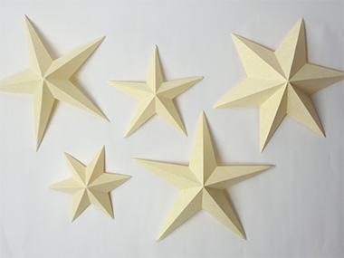 レザック66紙(クリーム175kg)で作った立体星形